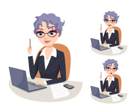 experienced: Experienced business woman with eyeglasses holding pencil and solving business problems on her laptop