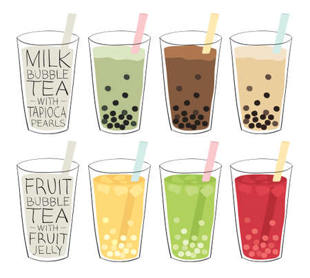green tea cup: bubble tea recipes mixed with fruit or milk, with tapioca balls or fruit jellies
