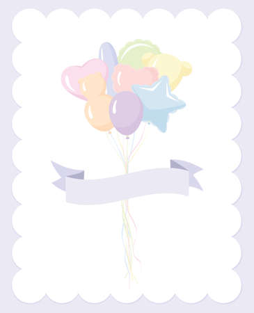 balloon background: Baby balloon invitation: party balloons in pastel colors and different shapes with banner Illustration