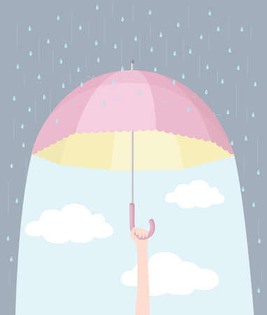 optimism: Confidence and optimism: hand holding a pink umbrella, converting rain into blue sky