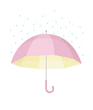 yellow umbrella: Cute protection: pink and yellow umbrella you are shielding the rain Illustration