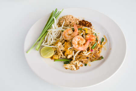 Pad Thai with Shrimps (Thai Traditional Food) Stok Fotoğraf