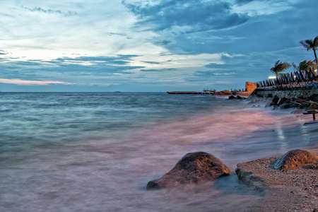 Dramatic Seascape Beach during sunset at Chonburi,Thailand Stok Fotoğraf