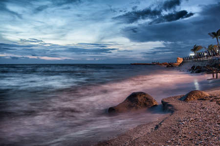 Dramatic Seascape during sunset at Chonburi,Thailand
