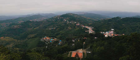 Landscape Panorama Before Sunrise at Doi Mae Salong,Chiangrai,Thailand