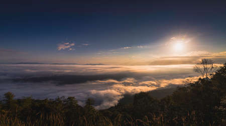 Landscape Panorama Sunrise with Cloud at Doi Samer Dao (Na Noi,Nan,Thailand)