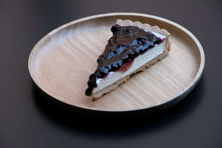 Blueberry cheesecake on the plate isolate close up Stok Fotoğraf