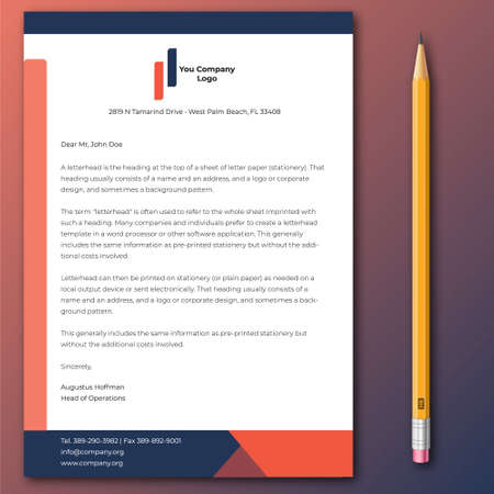 Corporative and official letterhead design template 写真素材 - 150730644