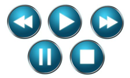 Blue Player Buttons Stock Photo - 6288790
