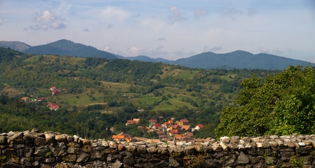 Beautiful view over the village Cisnadioara, Romania photo