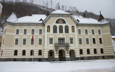 Vaduz - the capital city of Liechtenstein  Main square with government building photo