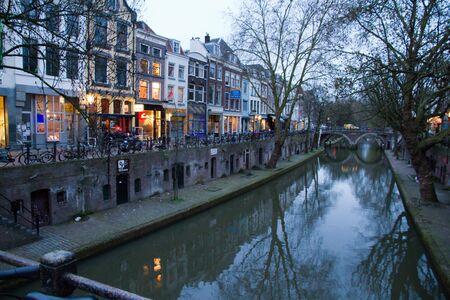 utrecht: Utrecht canal and street at night, Holland Stock Photo