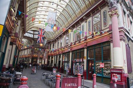 Historic Leadenhall Market in the City of London, England