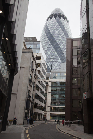The building is called Swiss Re Building or informally the Gherkin