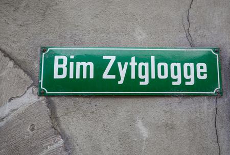 Bim Zytglogge street sign in Bern, Switzerland Éditoriale