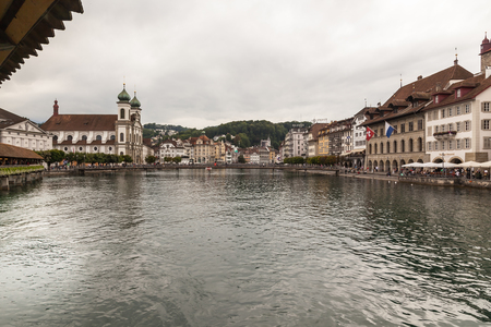 Image with Lucerne, main touristic city in Switzerland, known for baroque architecture. Redakční