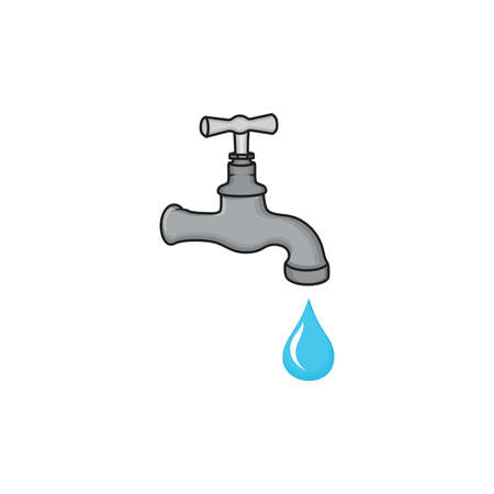 leak: Water tap with drop vector icon