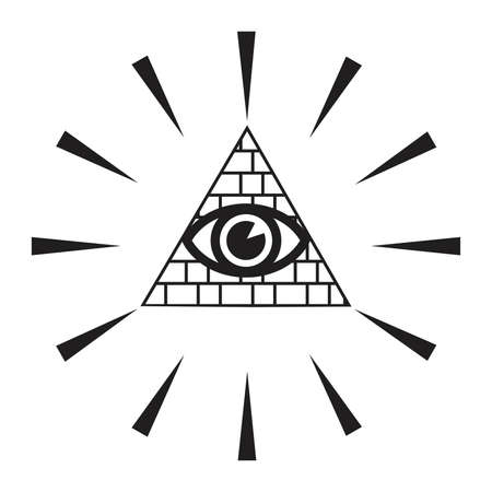 ojo de horus: Iluminar - icono simbólica con todo ver el ojo Vectores