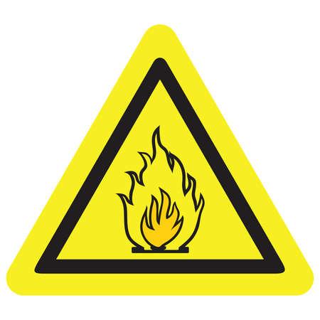 yellow beware: Vector fire warning sign