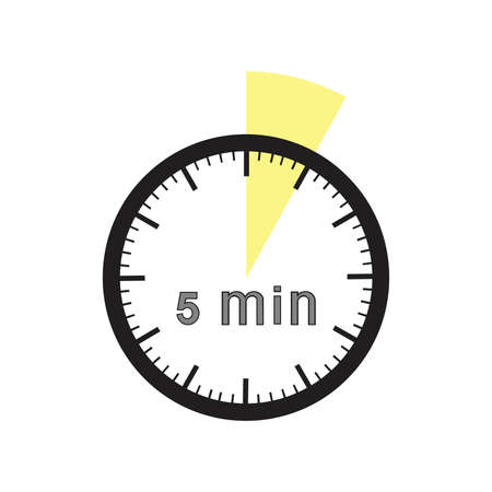 min: 5 minutes timer. Office clock with yellow 5 min segment