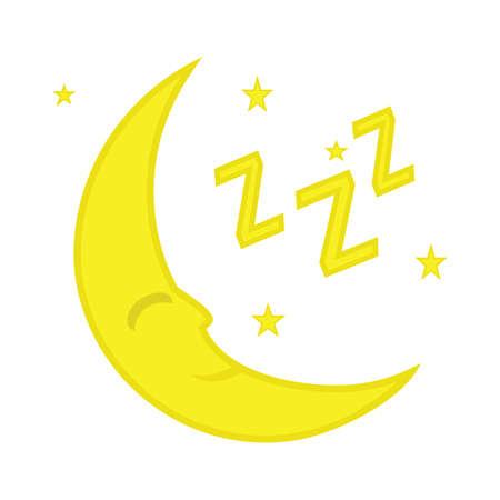 Night or sleep icon. Moon and stars sign. Crescent astronomy symbol. Illustration