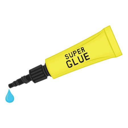 metaal plastic buis van superlijm, Vector illustratie van gele buis met superlijm.