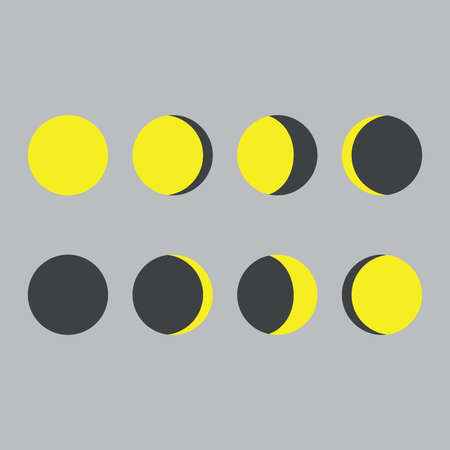 Illustrated Flat Lunar phases