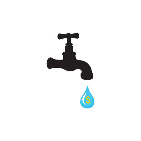 Water tap with drop vector icon