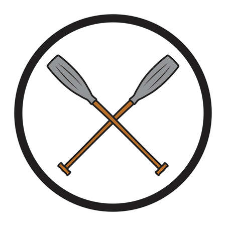paddles: crossed canoe paddles symbol vector Illustration