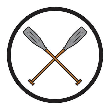 crossed canoe paddles symbol vector Illustration