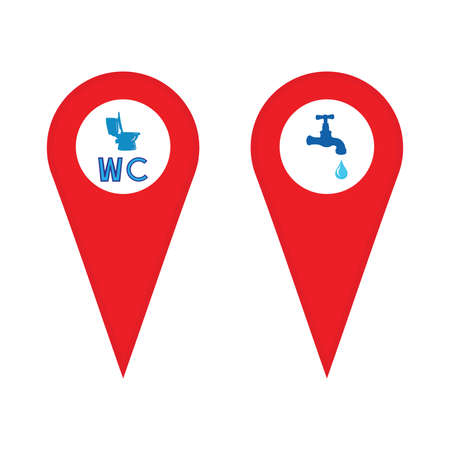 Map pointer icon ,Toilet symbol,WC bathroom Water tap