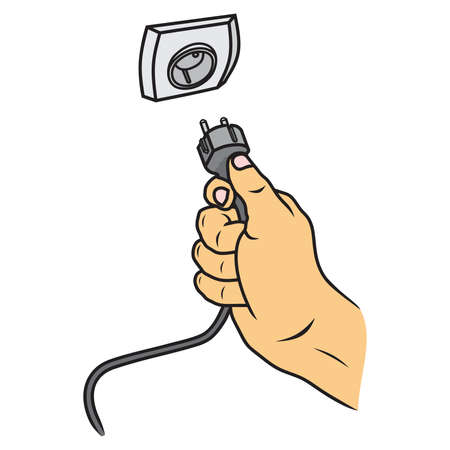 Hand connecting electrical plug vector Stock Illustratie