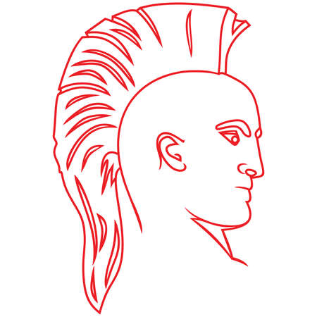 A man with a mohawk ,man with a punk hairstyle ,Punk Mohawk hairstyle vector Illustration