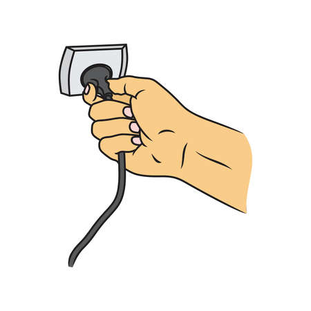 unplug: Hand connecting electrical plug vector and Turn Off The Cable Vector