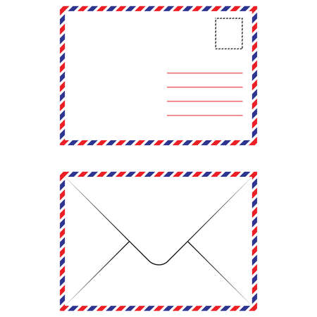 postmark: Envelope Air Mail Par Avion Letterhead Envelope Icon in trendy flat style Illustration