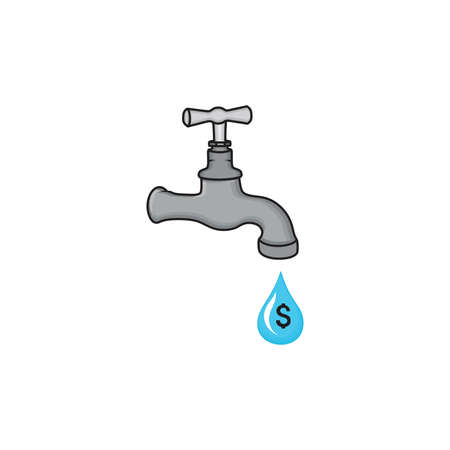 leaking: Water tap with drop vector icon