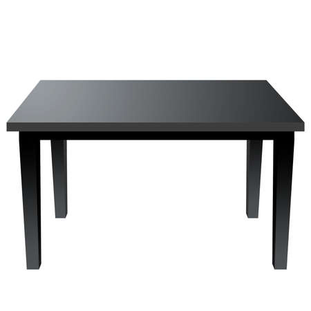 Modern black desk on white