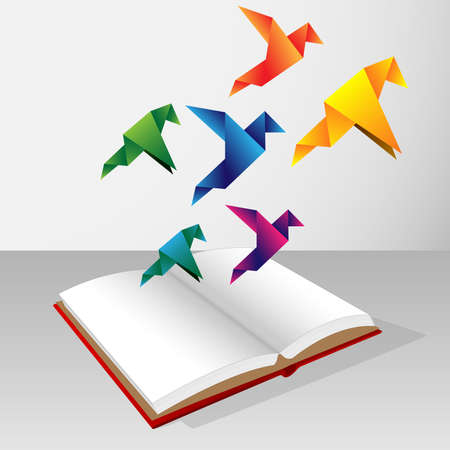 Colorfull origami birds coming out of book