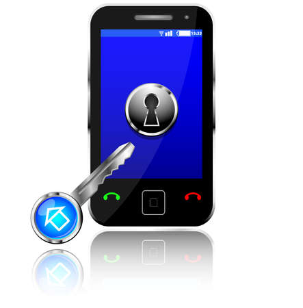 Phone security concept, mobile phone with key on white