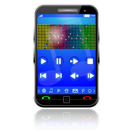 Cell Smart Mobile Phone with music player on white