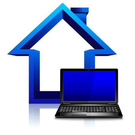 Work at home concept, freelancer, house with laptop computer Ilustración de vector