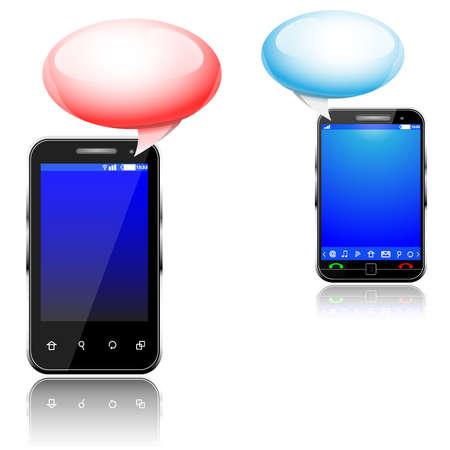 Vector illustration of social media messaging between two touch screen mobile phones