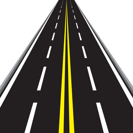 Along the road. Illustration of road with yellow lines isolated