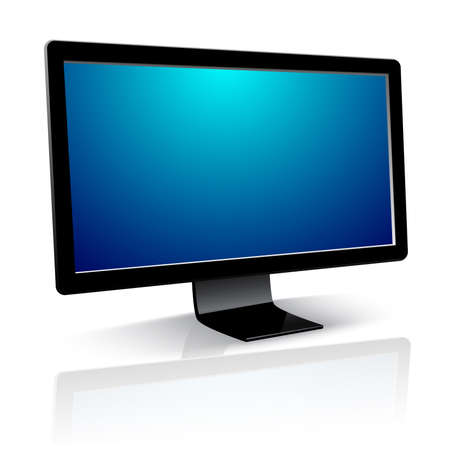 Computer Monitor with blank screen on white background