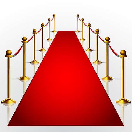 Red carpet with gold stanchions 3d illustration isolated over white background