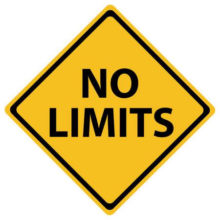 Conceptual road sign with no limits isolated