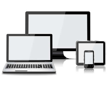 Set of realistic display, laptop, tablet computer and mobile phone isolated