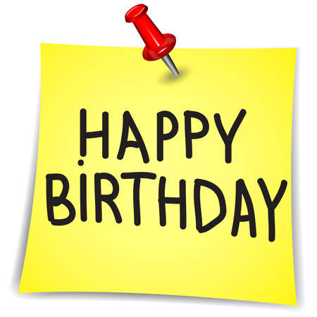 Happy birthday word on a Note Paper with pin on white background
