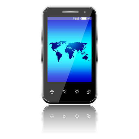 Three dimensional mobile phone and world map isolated