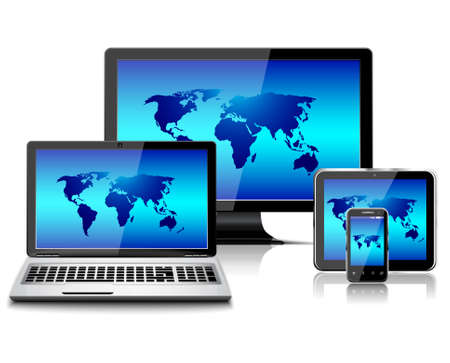 Computer monitor, laptop, tablet pc, and mobile smartphone with world map isolated Vetores